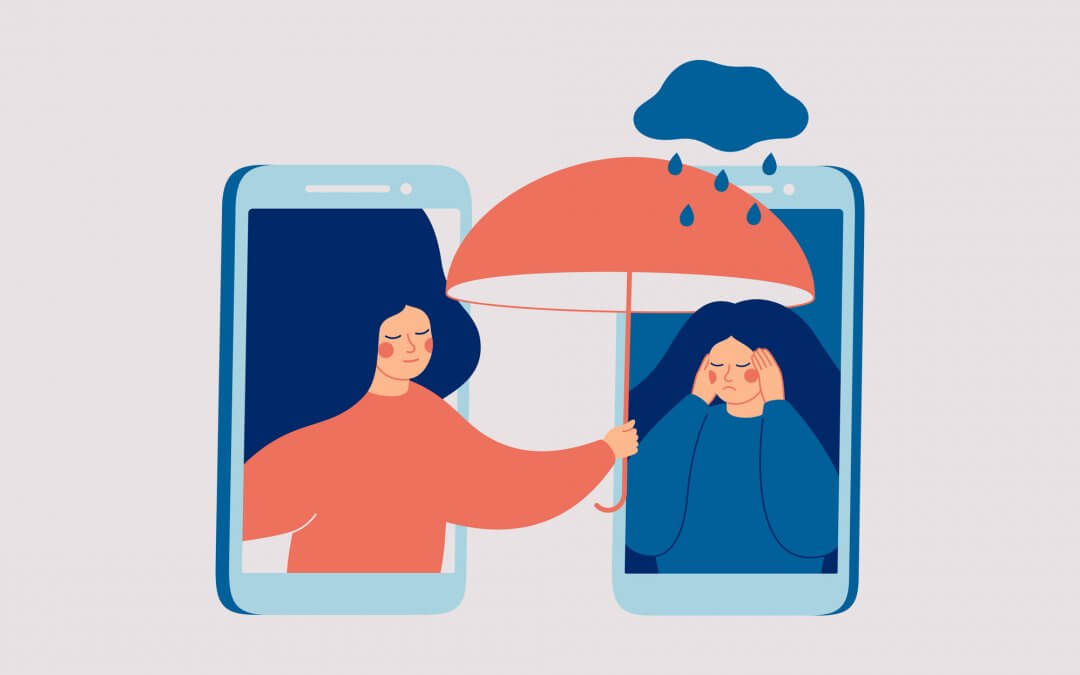 A woman reaches from a mobile phone, sheltering with her umbrella a crying woman being rained upon by a small cloud.